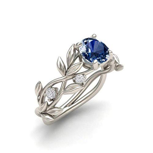 (Amaping Clearance Rings, Women Floral Transparent Diamond Flower Vine Leaf Rings Engagement Zircon Wedding Rings Jewelry Gift (Dark Blue,)