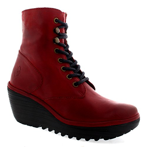 Nevada Leather (Womens Fly London Ygot Nevada Leather Wedge Heels Lace Up Ankle Boots - Red - 10)