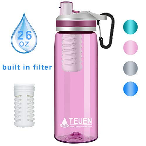 TEUEN Filtro Agua Botella 770ml Filtro Purificador de Agua Portatil Elimina Bacterias y Protozoos, 2000L Sistema de Filtracion de Agua Filtro de Agua para Supervivencia Acampada Emergencia (Rosa)