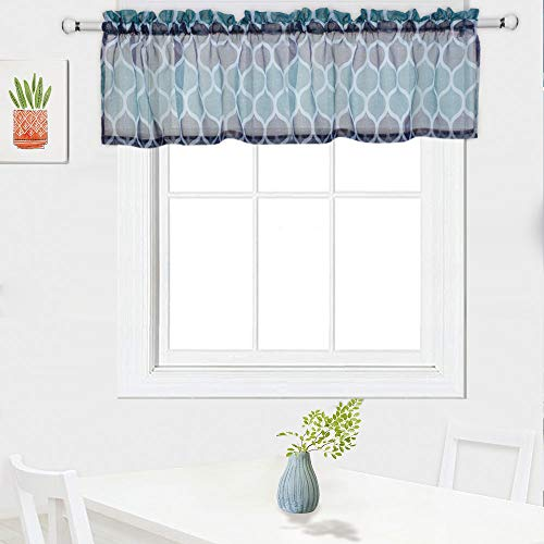 Haperlare Sheer Valance for Bathroom, Trellis Design Valance Curtains for Windows Rod Pocket Kitchen Valance Curtain Cafe Curtains, 56