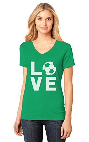 I Love Soccer - Perfect Gift For Soccer Players/Fans V-Neck Women T-Shirt X-Large Green