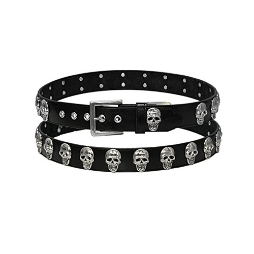 Hot Leathers 11820 Black XX-Large Leather Belt with Skull Medallions