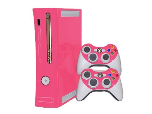 Microsoft Xbox 360 Skin (1st Gen) - NEW - PARTY PINK system skins faceplate decal mod