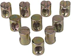 Flammi Metric M6 Barrel Nut  Inner diameter/threaded hole diameter: 5.35mm Thread pitch:1mm Outer diameter: 10mm Total length:12mm Used with Metric M6 bolts. PLEASE NOTE These M6 barrel nut does Not work with Imperial 1/4-20 bolts