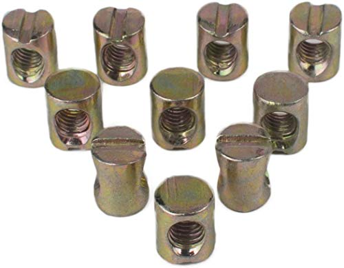 Flammi 10pcs Metric M8 Barrel Nuts Cross Dowels Slotted Nuts for Furniture Beds Crib Chairs (10pcs M8 Barrel Bolts)
