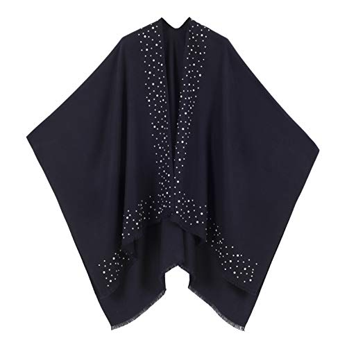 (Cardigan Poncho Cape: Women Elegant Blue Navy Solid Color Pearl Cardigan Shawl Wrap Sweater Coat for Winter (Navy with Pearl))