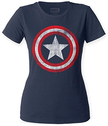 Juniors: Captain America- Distressed Shield Juniors (Slim) T-Shirt Size M Navy