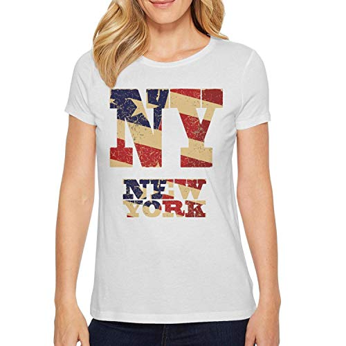 White Womens t-Shirt Slim-Fit Plain Funny Organic Ball Vintage-Lettering-ny-and-New-York-Flag-of-The-USA-]()