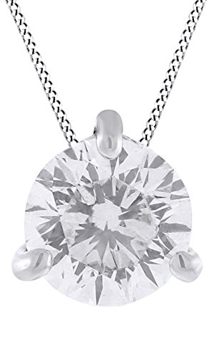 0.5 Ct Solitaire Pendant (0.5 Ct CZ Solitaire Pendant With Chain In 14K White Gold Over Sterling Silver)