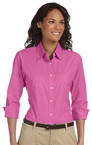 Devon & Jones Ladies Three-Quarter Sleeve Poplin Blouse, Charity Pink, XX-Large Devon And Jones Cotton Dress Shirt