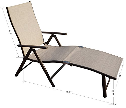 Kozyard Cozy Aluminum Beach Yard Pool Folding Reclining Adjustable Chaise Lounge Chair (1 Pack, Beige)