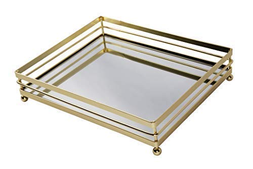 "VNESSE Decorative Mirror Tray Mirror Perfume Glass Vanity Jewelry Serving Tray Gold Elegant Accessories for Dresser & Bathroom 10.6"" x 8.6"""