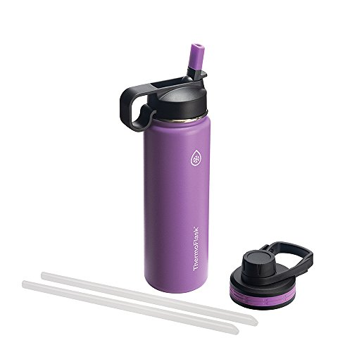 Thermoflask Bottle with Chug and Straw Lid, 24 Ounce, Plum by Thermoflask
