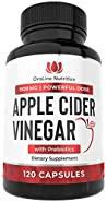 Organic Apple Cider Vinegar Capsules ( 120 Capsules | 1500 mg ) ACV Tablets w/ Prebiotics - Cleanse & Detox | Apple Cider Vinegar Pills | Fiber Supplement, Appetite Suppressant & Metabolism Booster