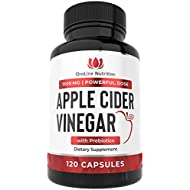Organic Apple Cider Vinegar Capsules (120 Capsules | 1500 mg) ACV Tablets with The Mother & Prebiotics | Apple Cider Vinegar Pills | Fiber Supplement for Immune Support & Gut Health