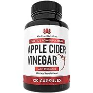 Organic Apple Cider Vinegar Capsules ( 120 Capsules | 1500 mg ) ACV Tablets w/ Prebiotics - Cleanse & Detox | Apple Cider Vinegar Pills | Fiber Supplement, Appetite Suppressant & Metabolism Booster