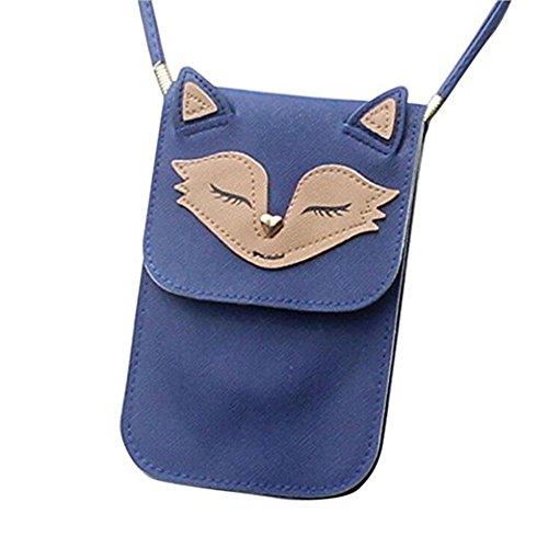 Blue Zipper Leather Shoulder Bag Women Mini Messenger Softmusic Purse Crossbody Coin Phone EwnPXxZBq