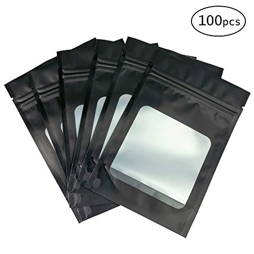 HANSER | Smell Proof Odorless Mylar Resealable Foil Pouch Bags with clear Window | Food Safe | Airtight Ziplock | matte black | 100 Pieces | 4x6 inches (Best Smell Proof Bag For Weed)