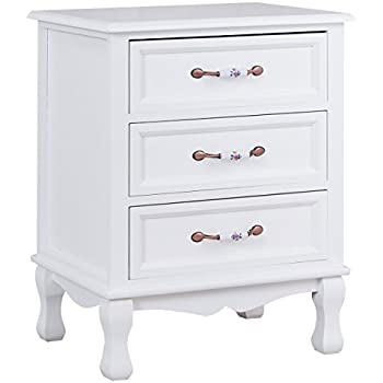 Genial Giantex 3 Drawers Nightstand End Table Storage Wood Cabinet Bedroom Side  Storage (1, White