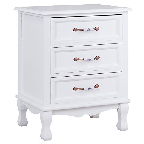 Giantex 3 Drawers Nightstand End Table Storage Wood Cabinet Bedroom Side Storage (1, White) (1 Drawer Side Table)