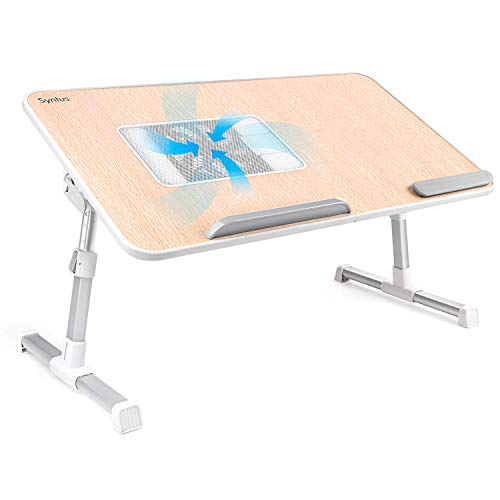 Syntus Adjustable Laptop Desk with Cooling Fan, Foldable Laptop Stand Riser Portable Computer Table Ergonomic TV Bed Lap Tray