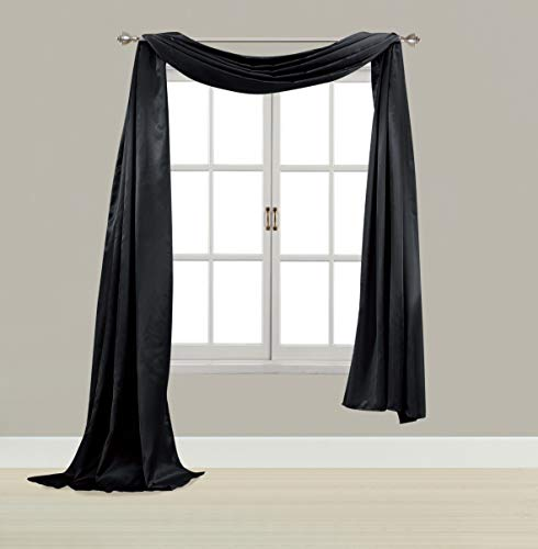 EliteHomeProducts Satin Window Scarf,Swag Valance, Fully Stitched & Hemmed (Black, 55
