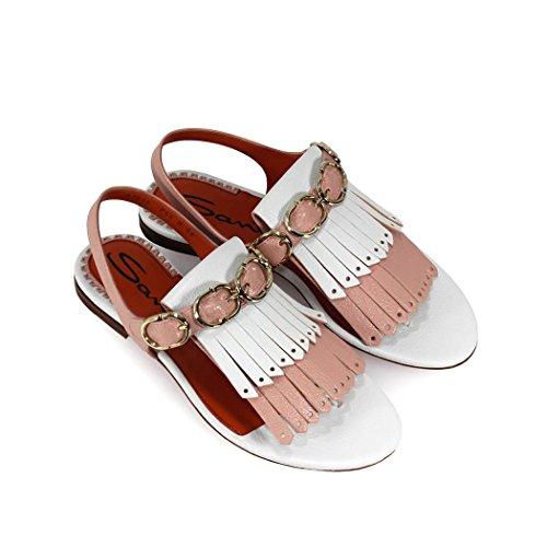Tonos Mujer Primavera Verano de Sandalia Santoni Fleco con Plana En Dos Zapatos 2018 gA8qwv5WxK