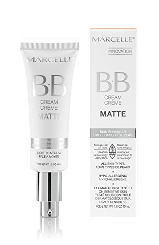 Cream Bb Foundation (Marcelle BB Cream Matte, Light to Medium, Hypoallergenic and Fragrance-Free, 1.5 fl oz)