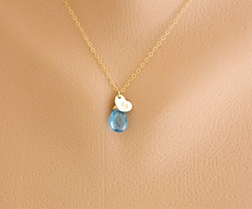 Flower Girl Gift, Initial Necklace, Birthstone Heart Necklace, Children Jewelry, Bridesmaid Jewelry, Personalized Kid Gift, Mom Necklace