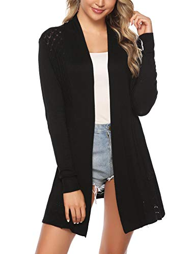 - iClosam Womens Casual Long Sleeve Open Front Cardigan Knit Sweater Black