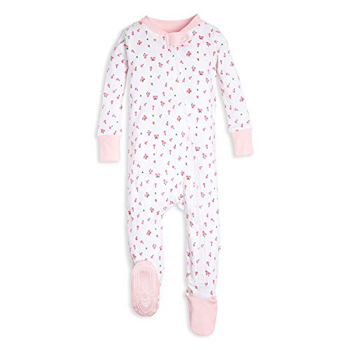 Burt's Bees Baby Baby Girl's Sleeper Pajamas, Zip Front Non-Slip Footed Sleeper PJs, Orga Sleepwear, Tossed tulips, 24 Months -