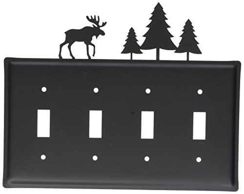 Cover Light Moose Switch (8.25 Inch Moose and Pine Quadruple Switch Cover)