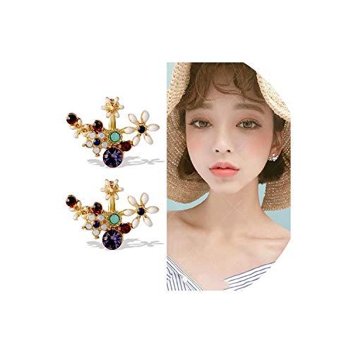(Sterling Silver Flower Earrings Female Temperament Personality Simple Circle Earrings Girl Heart Net Red Earrings,J 459,S925 Silver Needle)