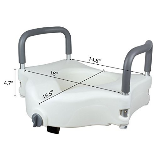 Vaunn Medical Elevated Raised Toilet Seat & Commode Riser with Removable Handles and Locking Mechanism, White by Vaunn (Image #5)