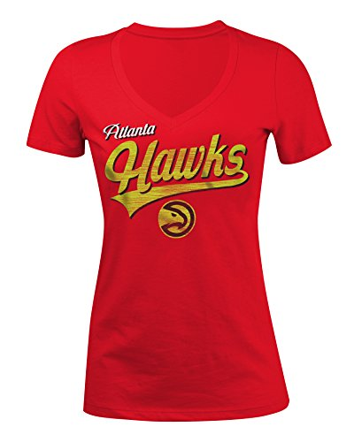 NBA Atlanta Hawks Women's 100% Cotton Baby Jersey Short Sleeve V-Neck Tee, Medium, Red