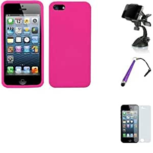 Quaroth PINK Apple iPhone 5 Soft Skin protect phone case With Combo Accessories-Universal Car Holder - Baseball Touch...