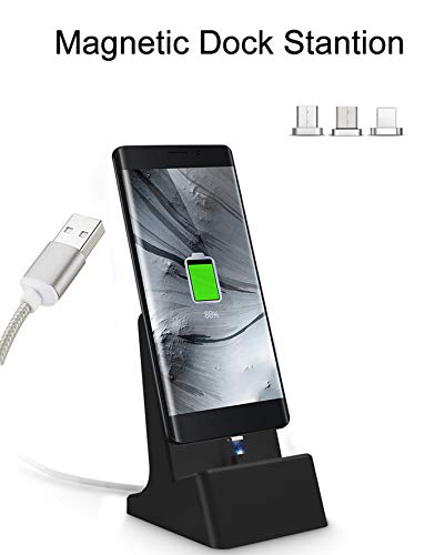 (Auswaur 3 in 1 Magnetic Charger Dock Charging Station 3 Connector Charging Docking Desktop Cradle Compatible with IP and Micro-USB Android Type C Mobile Devices Tablet-Black)