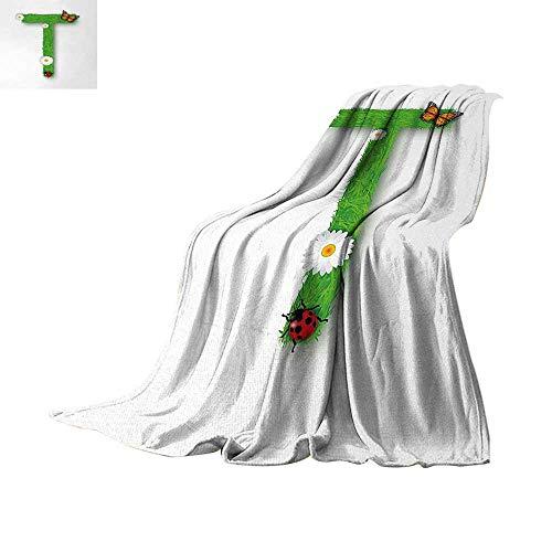 (Anhuthree Letter T Warm Microfiber All Season Blanket Caps T with Flourishing Fragrance Botanical Design and Ladybug Girls Room Velvet Plush Throw Blanket 60