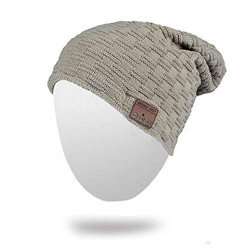 Bluetooth Beanie Hat, BearsFire Winter Outdoor Premium Knit Cap with Wireless Stereo Headphone Headset Earphone Speaker Mic Hands Free for Iphone Samsung Android Cell Phones, Christmas Gifts (gray)