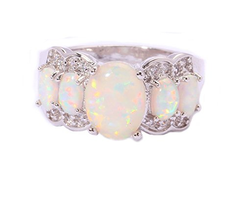 Gemmart Created White Opal Cubic Zirconia engagement rings fashion rings