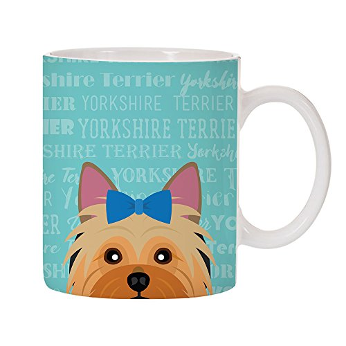 (Adorable Dog Breed Specific 11oz Ceramic Coffee Mug (Yorkshire Terrier - Blue Bow))