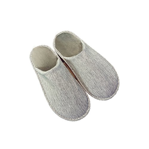 TELLW Cotton Linen Flax Slippers for Female Men Summer Spring Fall Home Indoor Wooden Floor Soft Bottom Anti-Skid Mute Fabric Couple Cool Slippers Men Gray CqojS