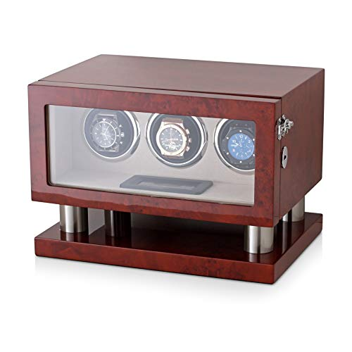 Watch Winder Box for 3 Watches with LED Backlight, LCD Display and Motor-Stop Option (Dark Burl)