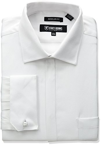 Stacy Adams Men's Textured Solid Dress Shirt, White, 17