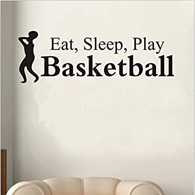 Iuhan Eat Sleep Play Basketball Letter Decal Wall Decor Sticker Room Sports Wall Sticker