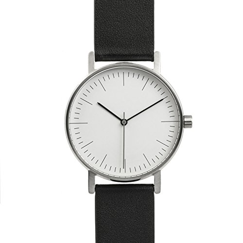 BIJOUONE B001 Minimalist Black Leather Stainless Steel Swiss Quartz Unisex Watch, Clean Simple Causal Design - Swiss Design Watch