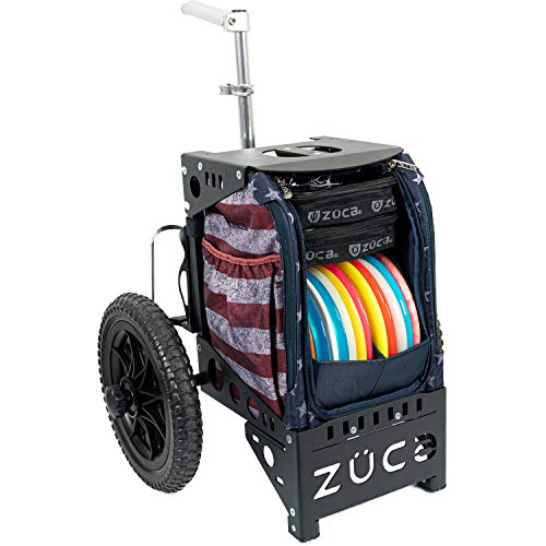 Dynamic Discs Compact Cart by ZÜCA | Disc Golf Caddy | Disc Golf Bag Insert Included | Built-in Disc Golf Seat | Two Water Bottle Holders Included (Stars and Stripes)