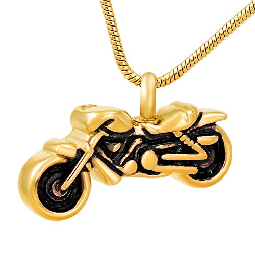 Davitu IJD8605 Hot!!!The Motorcycle Stainless Steel Cremation urn Pendant Necklace Women//Men Funeral Memorial Ashes Keepsake Jewelry Metal Color: Silver, Main Stone Color: Pendant with Chain