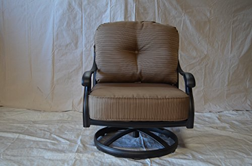 Elizabeth Outdoor Patio 4 Swivel Rocker Club Chairs Cast Aluminum Dark Bronze, Walnut Cushions