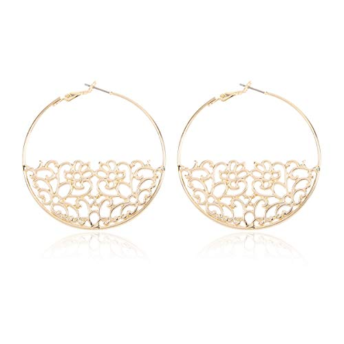 Curved Metal Crescent Moon Simple Geometric Hoop Drop Statement Earrings - Bohemian Tribal Filigree Lightweight Cutout Profile Shield Threader Dangles (Filigree Halfmoon Leaf Hoops - Gold)